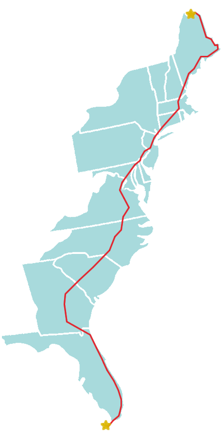 Representative map of US Route 1