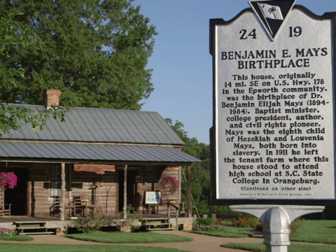 Photo of the plaque at the Benjamin E. Mays Historical site