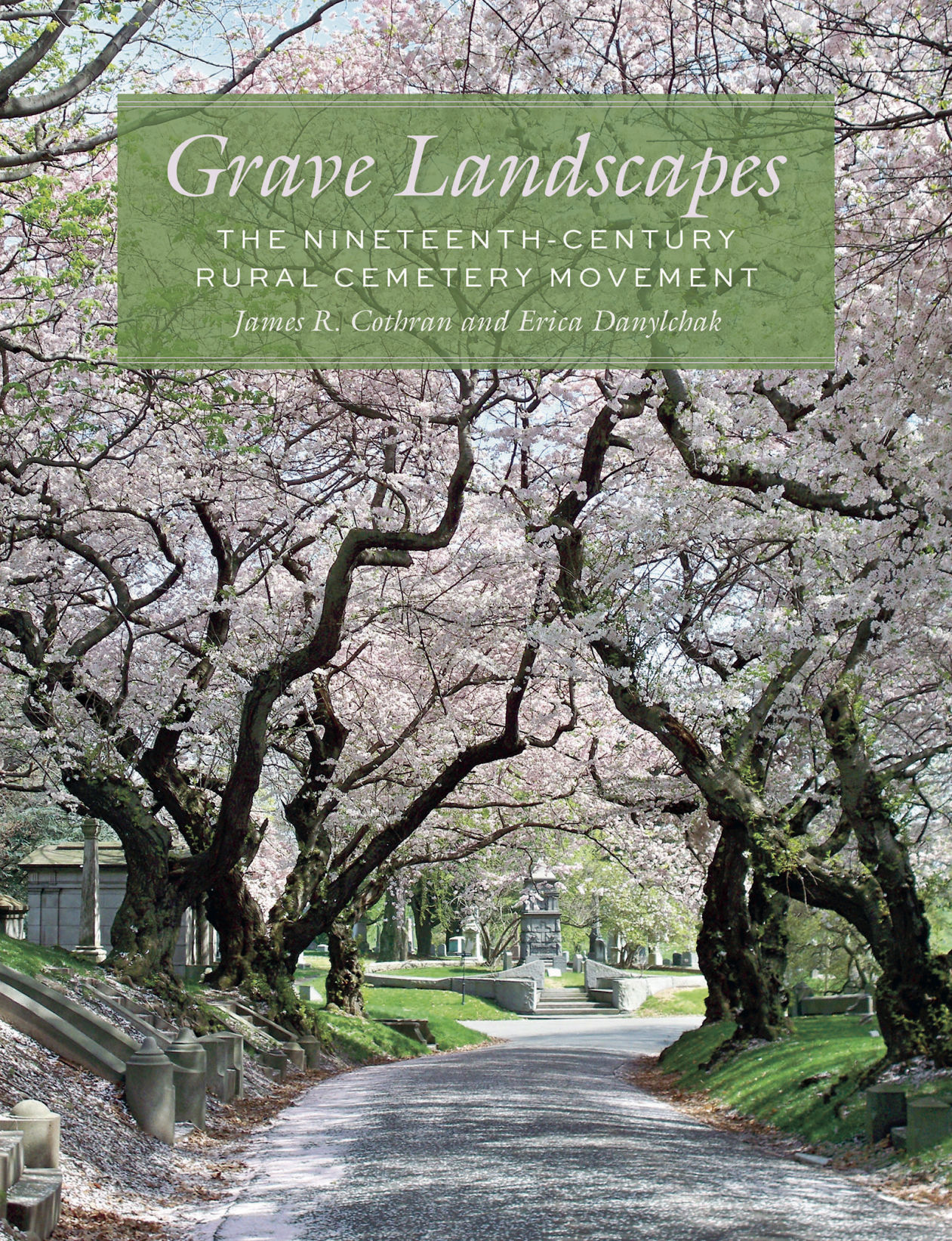 Image shows cover of book: a dirt path between a row of large old trees, leading toward a partially obscured grand home