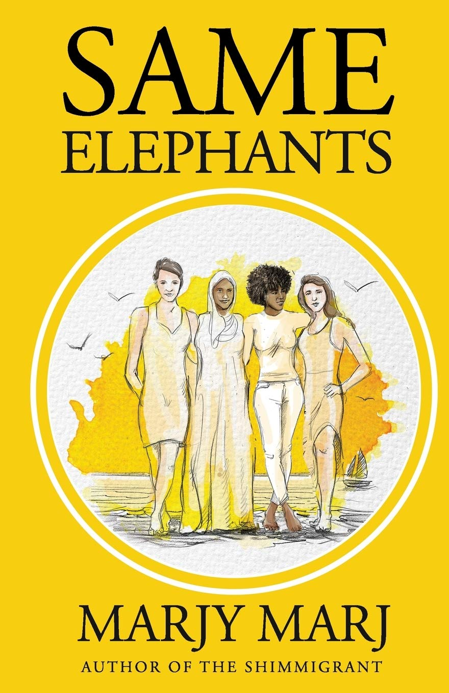 Yellow book cover with four illustrated women, one wearing a hijab, standing side by side with their arms wrapped around one another