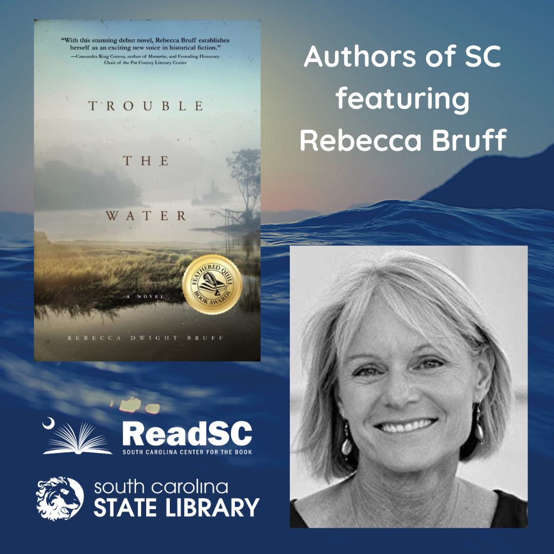 "Top left corner shows the cover of ""Trouble the Water,"" bottom right corner shows headshot of Rebecca Bruff. Both images are superimposed over calm blue waves"