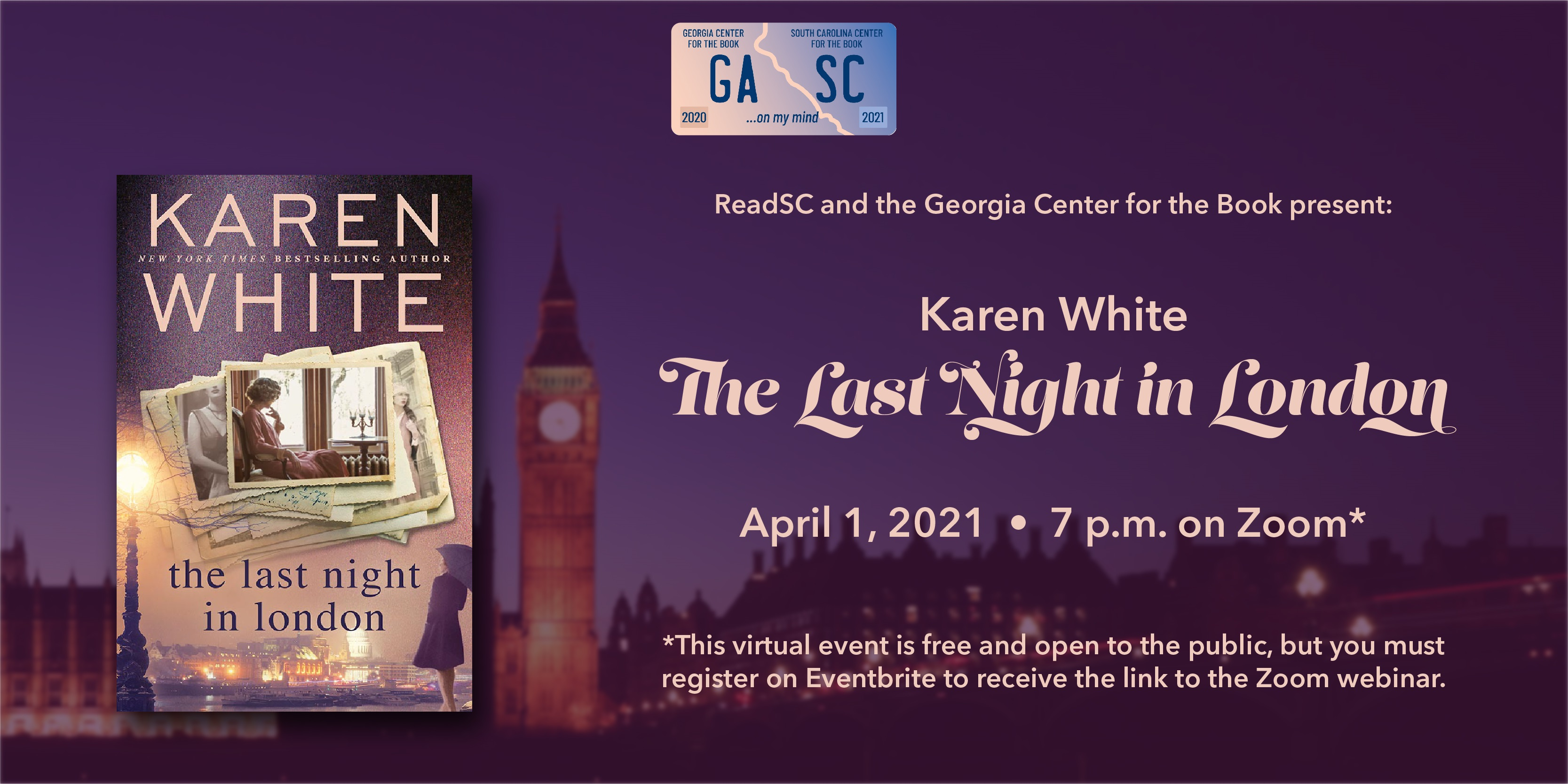 "Cover of the book ""The Last Night in London"" is superimposed on a purple background on the left, details about the event are on the right side of the image."